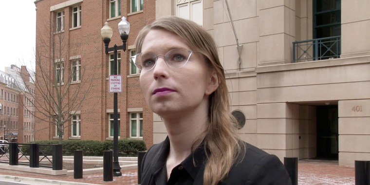 Image: Chelsea Manning speaks to reporters outside the U.S. federal courthouse shortly before appearing before a federal judge and being taken into custody for contempt of court in Alexandria, Virginia