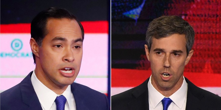 Image: Democratic presidential hopefuls Julian Castro, left, and Beto O'Rourke, right, take part in yhe first Democratic primary debate of the 2020 presidential campaign season