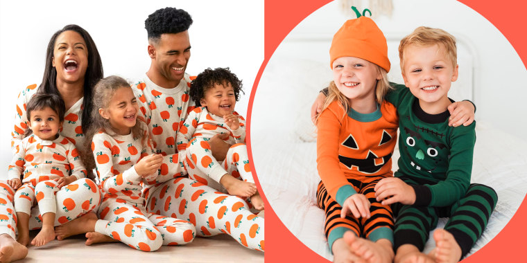 family and children wearing halloween pajamas
