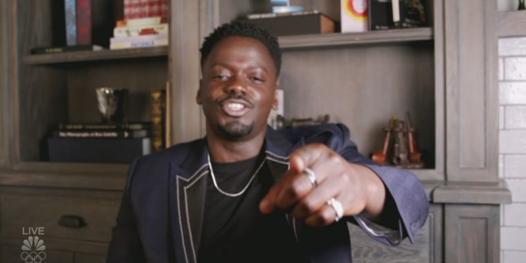 """Daniel Kaluuya speaks remotely after an audio mishap at the Golden Globes on Feb. 28, 2021. He won the award for best supporting actor for his role in """"Judas and the Black Messiah."""""""