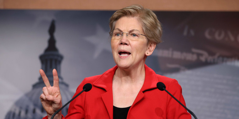 Image: Sen. Elizabeth Warren (D-MA) holds a news conference at the U.S. Capitol