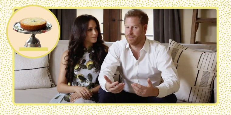 Collage of Meghan Markle wearing a lemon dress and her husband and the photo of a lemon cake