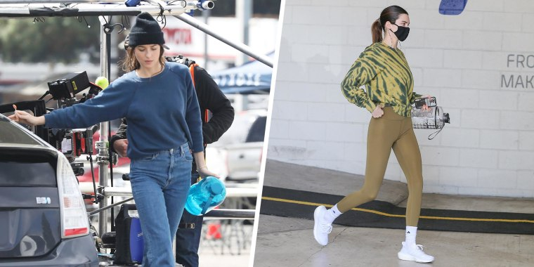 Split image of Dakota Johnson Wearing A Woolly Hat and holding a large water bottle While Filming 'Am I Ok?' In Los Angeles and  Kendall Jenner wearing athletic clothes holding a large water bottle