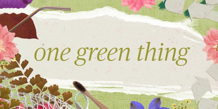 """Illustration of green and brown paper that reads """"One green thing"""" with flowers and recyclables"""