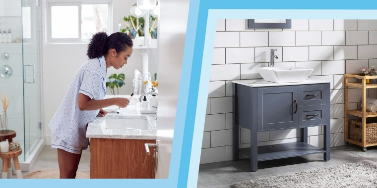 """Illustration of a Woman in her bathroom using her Vanity sink and a lifestyle image of 30"""" Gray Bathroom Vanity and Sink Combo Marble Pattern Top with a mirror"""