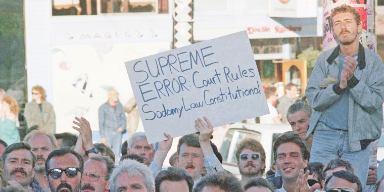 Hundreds of gay rights activists demonstrate against a Supreme Court decision that upheld a Georgia law making sodomy a crime on June 30, 1986, in San Francisco.