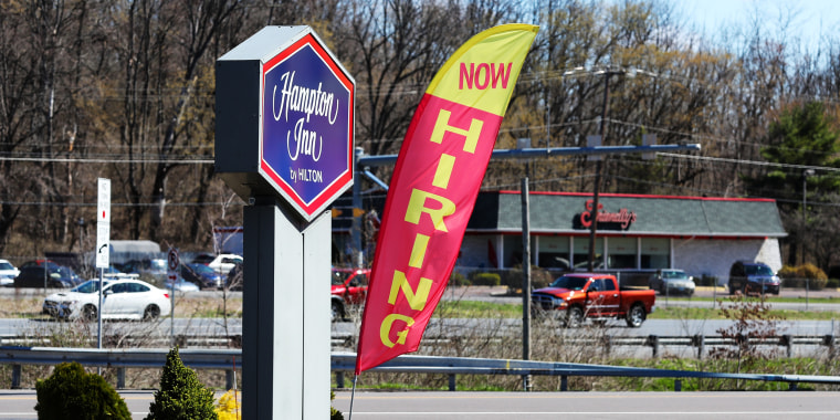 Image: A hiring sign at at Hampton Inn in Danville. Pa., on April 2,  2021.