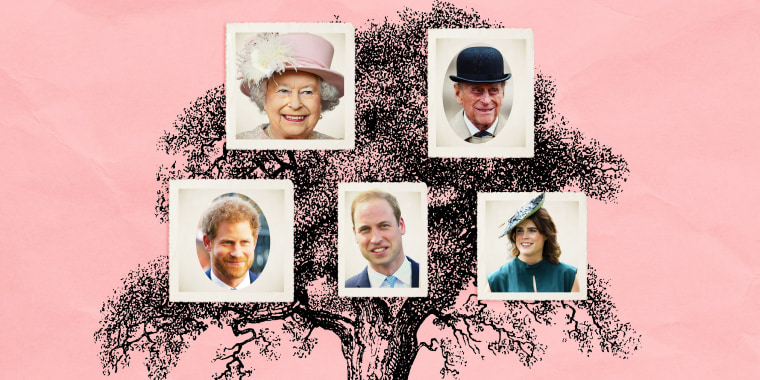 Illustration of photos of the royal family on top of a pink background with a black tree