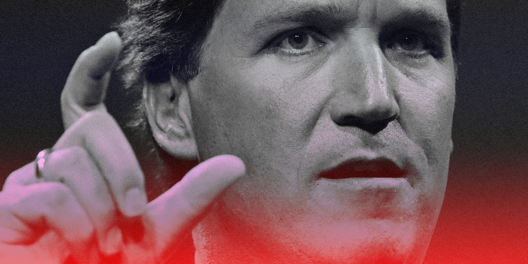 Image of Fox News host Tucker Carlson with a red and blue overlay