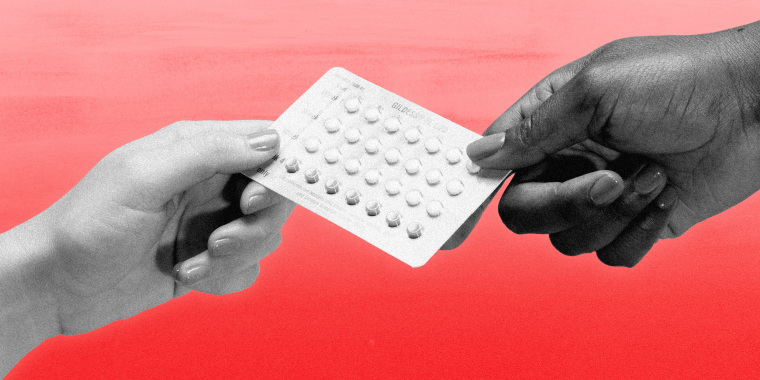 Illustration shows two hands holding a birth control pill packet.