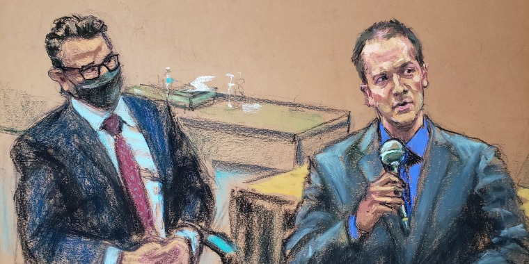 Former Minneapolis police officer Derek Chauvin tells the judge that he waived his right to testify to the jury, next to his defense attorney Eric Nelson, in Minneapolis on April 15, 2021, in this courtroom sketch.