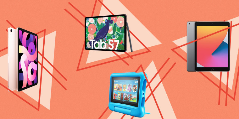 Illustration of the Amazon Fire HD 8 Kids Edition, Apple 10.2-inch iPad, Apple iPad Air in pink and Samsung Galaxy Tab S7. These are the best tablets of 2021 that are affordable alternatives to the iPad Pro. Shop the best tablets from Apple, Samsung, Amaz
