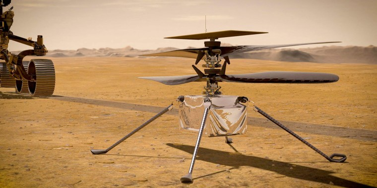 Image: An illustration of NASA's Ingenuity Mars helicopter standing on the Red Planet's surface.
