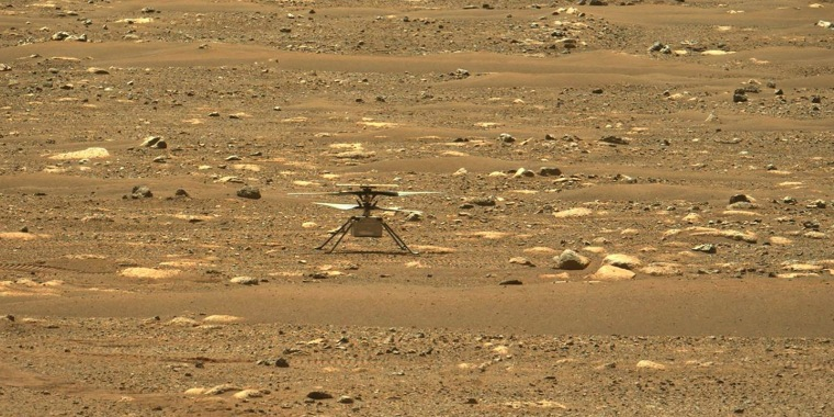 Image: NASA's Ingenuity Mars Helicopter right after it successfully completed a high-speed spin-up test, captured by the Mastcam-Z instrument on Perseverance