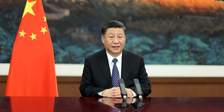 Image: Chinese President Xi Jinping delivers a speech via video at the third World Laureates Forum.
