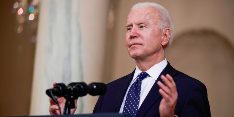 President Joe Biden speaks at the White House on April 20, 2021.