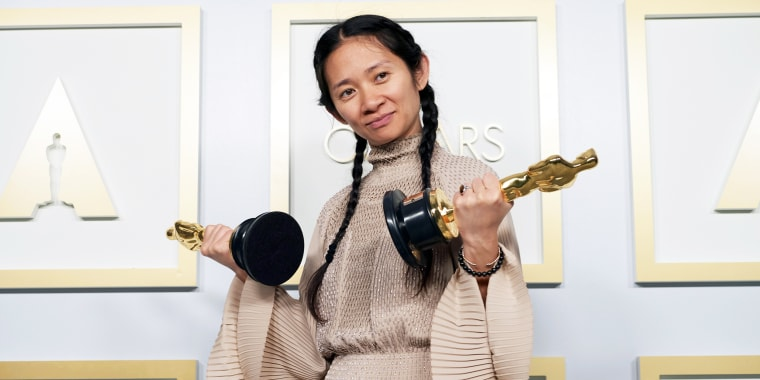 Chloe Zhao poses in the press room during the 93rd Annual Academy Awards on April 25, 2021, in Los Angeles.