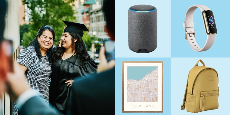 Illustration of a Mother hugging her daughter wearing her graduation cap and gown, and an Amazon Echo, Dagne Dover Dakota Backpack, Amazon Echo Smart Speaker, Custom Map Print and Fitbit Luxe in white