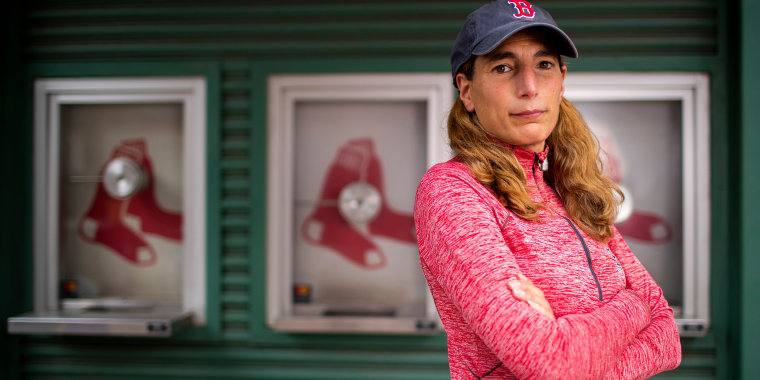 Image: Fenway Park vendor Heidi Hashem poses for a portrait on Lansdowne Street outside of Fenway Park on April 28, 2021 in Boston.
