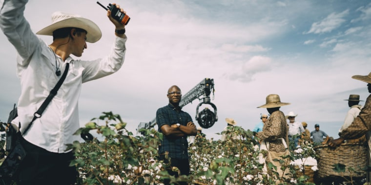 """Image: Barry Jenkins on the set of \""""The Underground Railroad."""