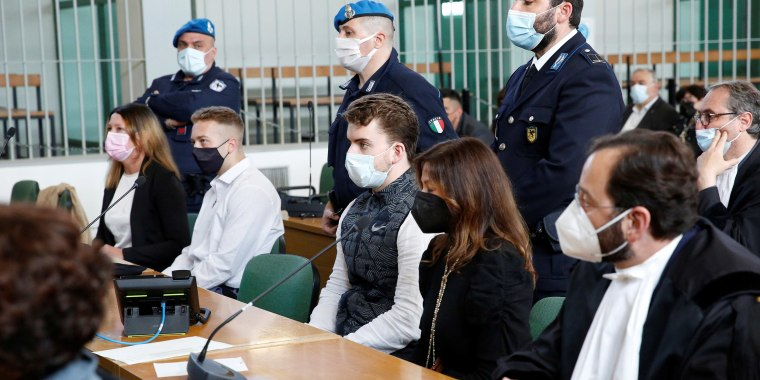 Image: U.S. citizens Finnegan Lee Elder and Gabriel Christian Natale-Hjorth, accused of killing Carabinieri military police officer Mario Cerciello Rega, attend  hearing in Rome