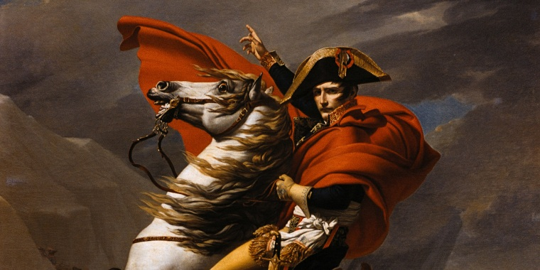 Image: Napoleon on Horseback at the St. Bernard Pass by Jacques-Louis David