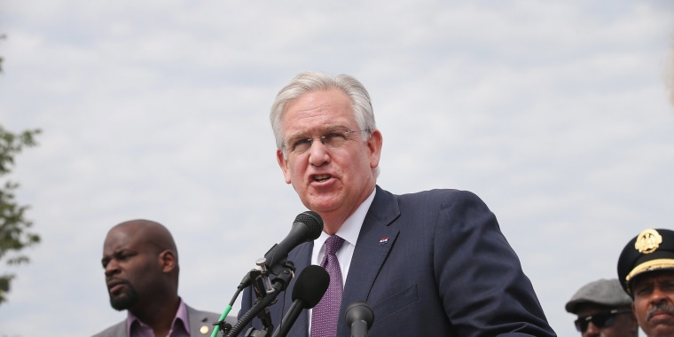 Image: Governor Jay Nixon of Missouri speaks to the media on Aug. 15, 2014 in St. Louis, Missouri.