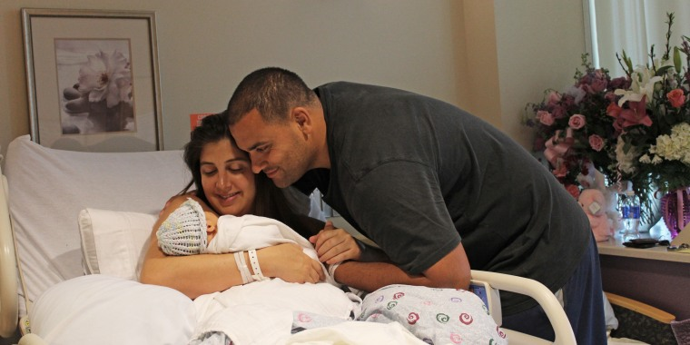 Melissa Petrus with her first baby, delivered at Providence St. Jude Medical Center in Fullerton, Calif.