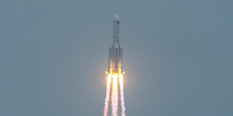 Image: A Long March 5B rocket, carrying China's Tianhe space station core module, lifts off from the Wenchang Space Launch Center in southern China's Hainan province