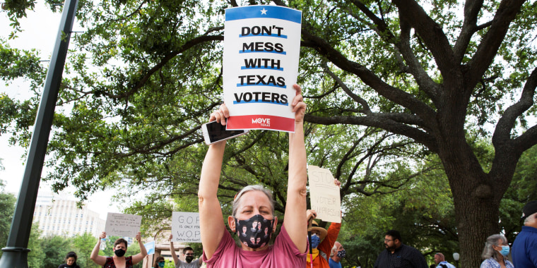 Stephanie Hartley chants during a protest against Texas legislators who are advancing a slew of new voting restrictions in Austin on May 8, 2021.