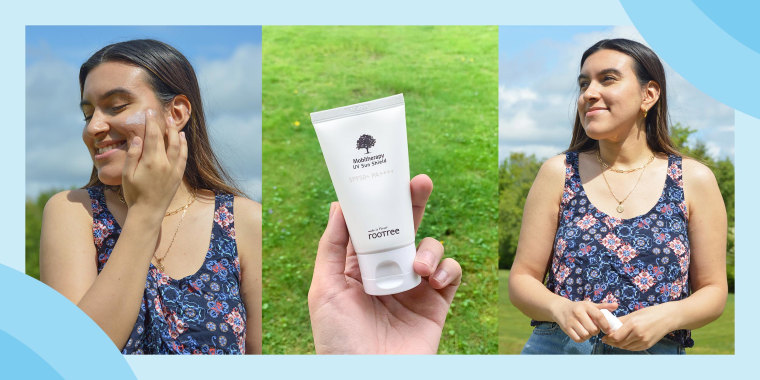 Three images of Sunah Syed wearing roottree sunscreen