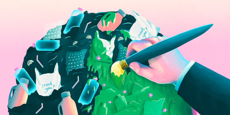 Illustration of hand painting green a pile of plastic
