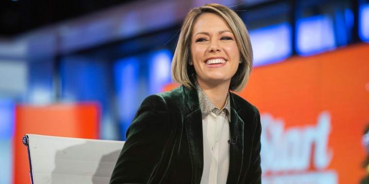 today show meteorologist dylan dreyer smiles on the set of the show in a green velvet jacket and collared shirt