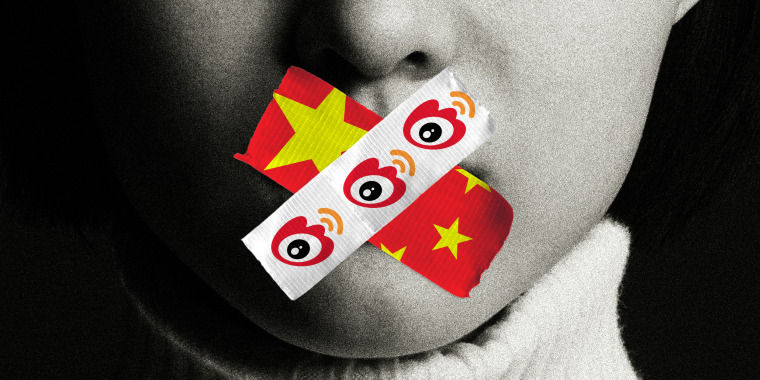 Photo illustration: Close-up of a mouth covered by two tapes, one has the Chinese flag while the other has the Weibo logos repeated.