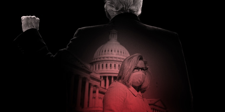 Photo illustration: Image of Liz Cheney outside the U.S. Capitol inside the silhouette of Donald Trump's back with this fist up.