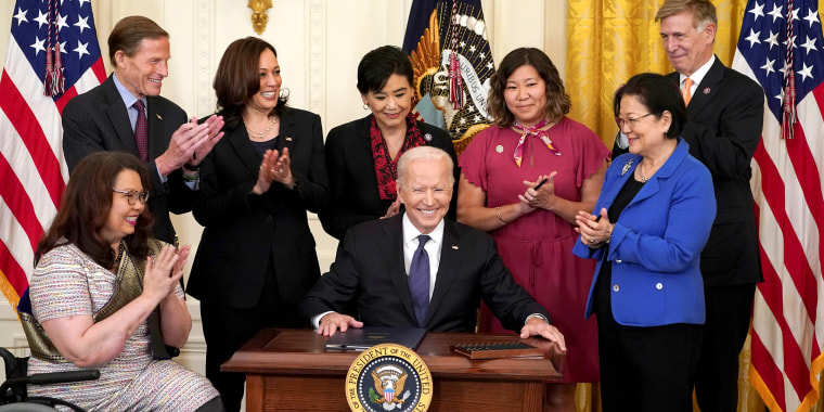 Image:  U.S. President Biden signs the COVID-19 Hate Crimes Act at the White House in Washington