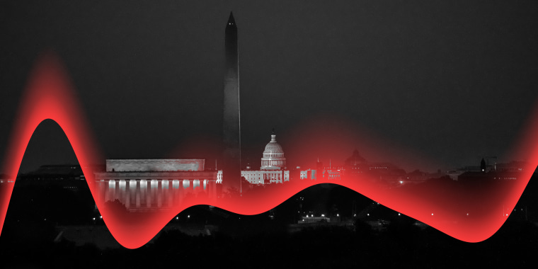Photo illustration: A red wave passes over the aerial view of Washington D.C.