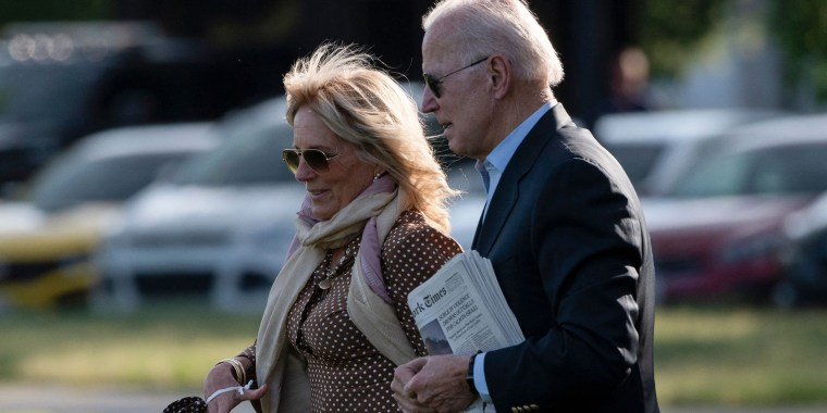 Image: President Joe Biden and first lady Jill Biden walk to Marine One on the Ellipse near the White House on May 15, 2021.