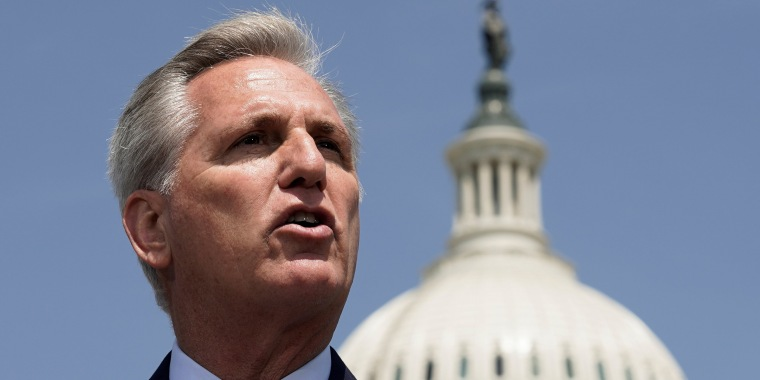 House Republican Leader Kevin McCarthy, R-Calif., speaks on Capitol Hill on May 20, 2021.