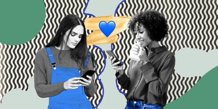 Collage of tho women texting each other with a blue heart in the middle.