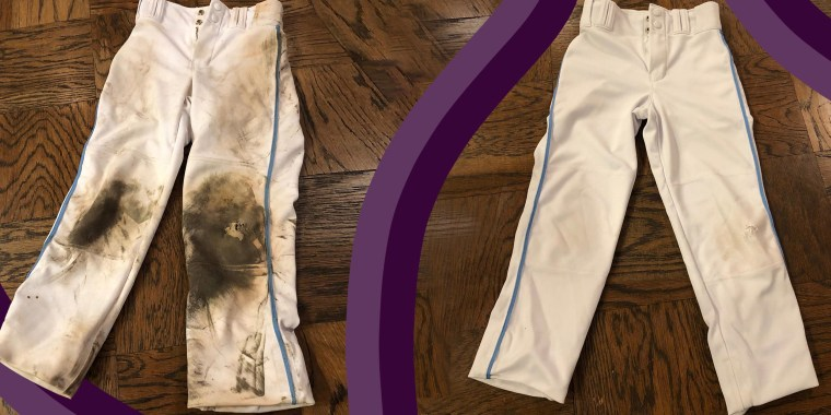Before and after of dirt y to clean baseball pants
