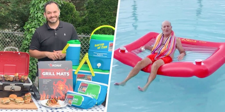 Steve Greenberg floating in a pool floatie and Matt Abdoo sharing on broadcast best grilling Father's Day gifts