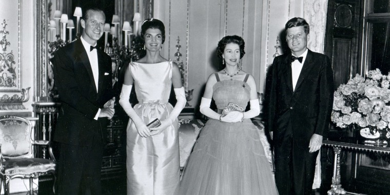 President John F. Kennedy and his wife, first lady Jacqueline Kennedy, with Queen Elizabeth II  and her husband, Prince Philip, Duke of Edinburgh, ttend a banquet at Buckingham Palace in London, United Kingdom, June 15, 1961.
