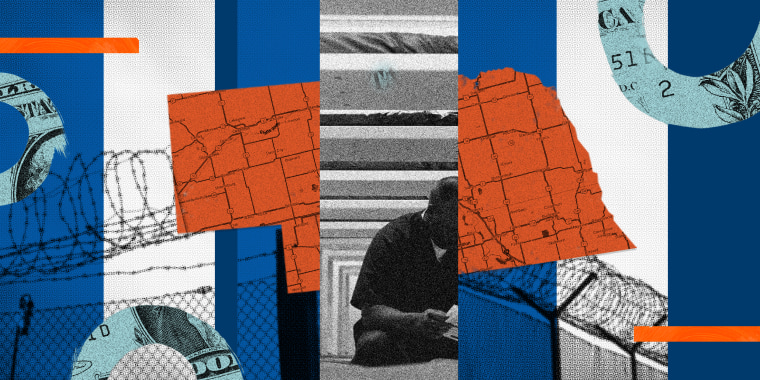 Photo illustration: Collage with images of a person sitting, barbed wire fences, a state map of Nebraska and fragments of the dollar bill.
