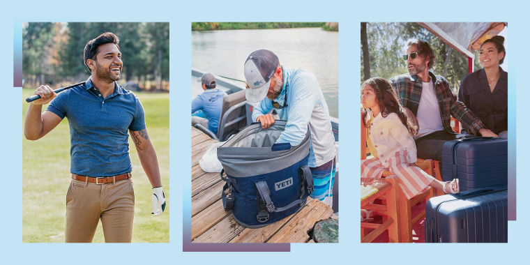 GIF Illustration of a Golf player walking on the course, a Man using his Yeti cooler while fishing and a family looking over the water while on vacation