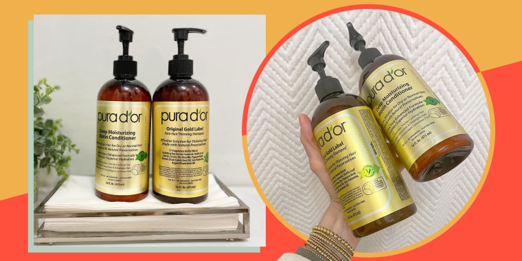 Image of a hand holding Pura D'or shampoo and conditioner and bottles of Pura D'or the $30 anti-thinning shampoo