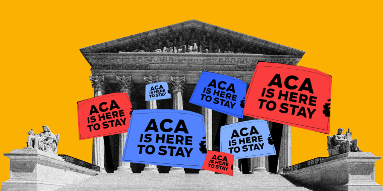 """Photo illustration: Seven boards coming out of the Supreme Court building read as,\""""ACA is here to stay\""""."""