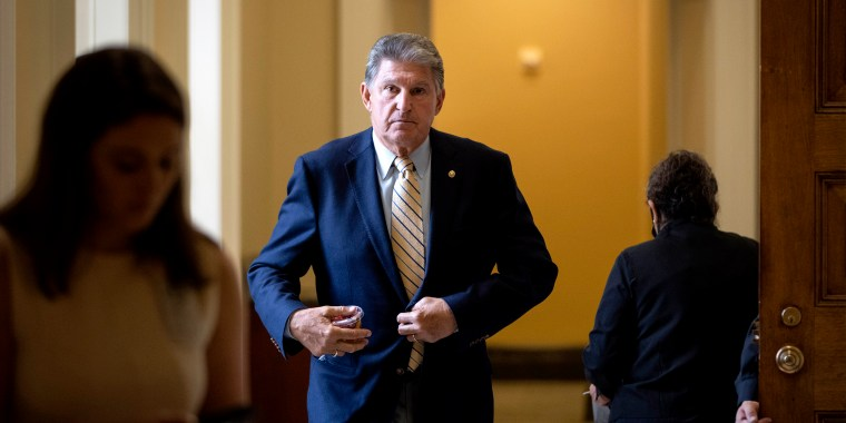 Image: Sen. Joe Manchin, D-W.V., leaves a lunch with Senate Democrats at the U.S. Capitol on June 22, 2021.