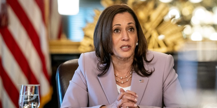 Vice President Kamala Harris speaks during a meeting marking LGBTQ+ Pride Month in the Vice President's Ceremonial Office on June 23, 2021.
