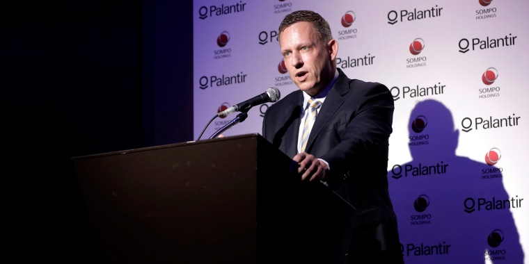 Peter Thiel, co-founder and chairman of Palantir Technologies Inc., speaks during a news conference in Tokyo, Japan, on Nov. 18, 2019.